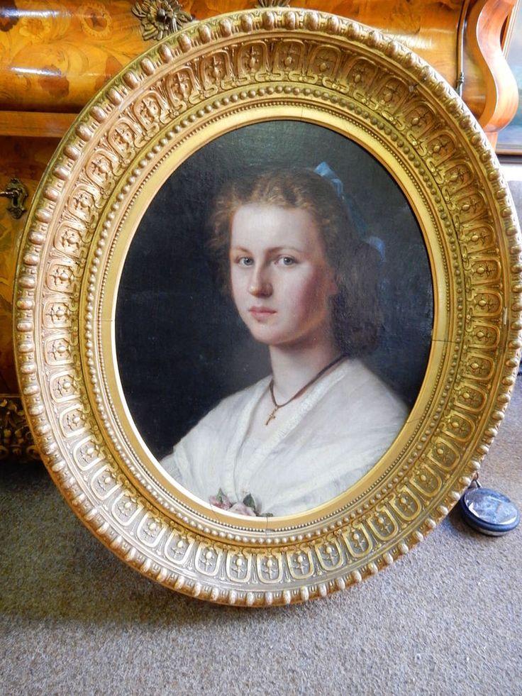Prinzessin Victoria Luise Portät Oel/Leinwand Original Gemälde Rahmen um 1905