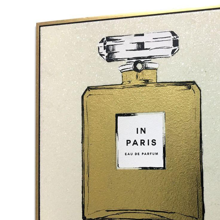 Wynwood Studio Paris Perfume Gold and White Framed Art - 20397.CH_16X16_GCANV