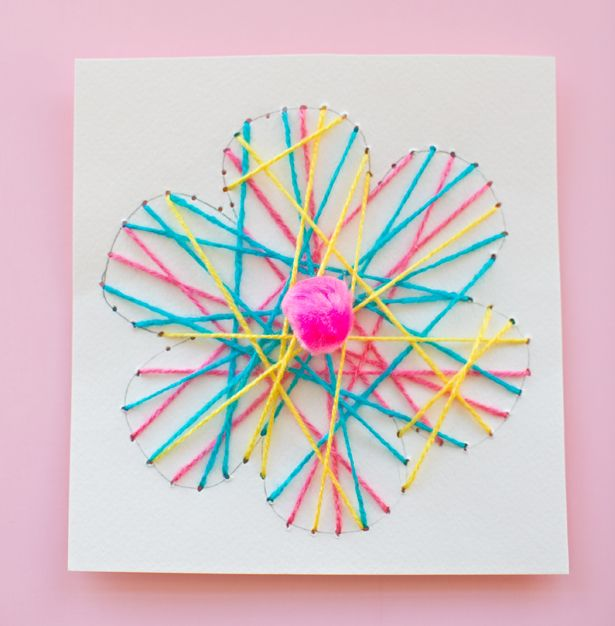 hello, Wonderful - KID-MADE DIY STRING ART FLOWER CARDS