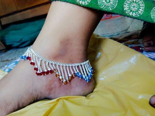 NEW INDIAN BELLY DANCE KUCHI TRIBAL PAYAL-ANKLET-JEWELRY 10 inch pair 2 pcs  #panassh