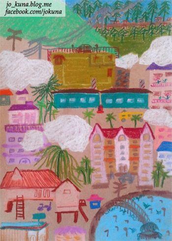 <작은 마을, Small town, oil pastel, 2014>