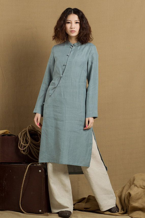 """Natural linen tunic dress for women, made in soft and comfortable linen fabric. elegant pleats, half sleeves, two pockets, hit at knee.  it works great too when you layer with a legging or a jacket in chilly morning. Size:You may pick a size from the standard sizes below.    •SIZE XS (US 0-2, UK 6-8, Italy 36-38, France 32-34)   bust: fits bust around 32.5""""-33.5"""" / 81-85 cm   waist: fits waist around 25""""-26"""" / 63.5-66 cm   hips: fits hips around 35""""-36"""" / 89-91 cm    •SIZE S (US 4-6, UK…"""