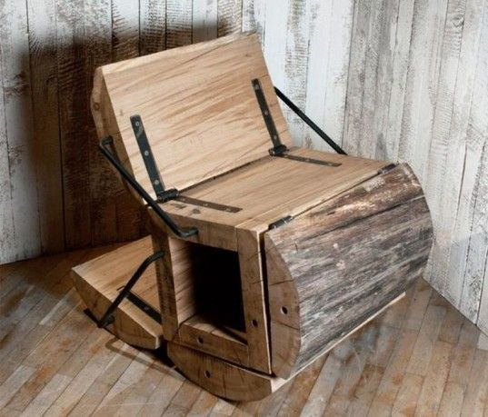 The 'Waste Less' Chair --   this unique rocking chair is made with timber off-cuts from structural beams carved out of whole logs