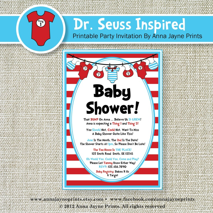 SEUSS Inspired BABY SHOWER Invitation - Invite - Baby - Twins - Thing One - Thing Two - Sample M. $15.00, via Etsy.