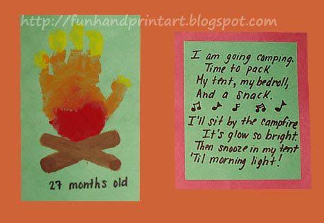 Handprint and Footprint Arts & Crafts: Handprint Campfire with a Song -August calendar page