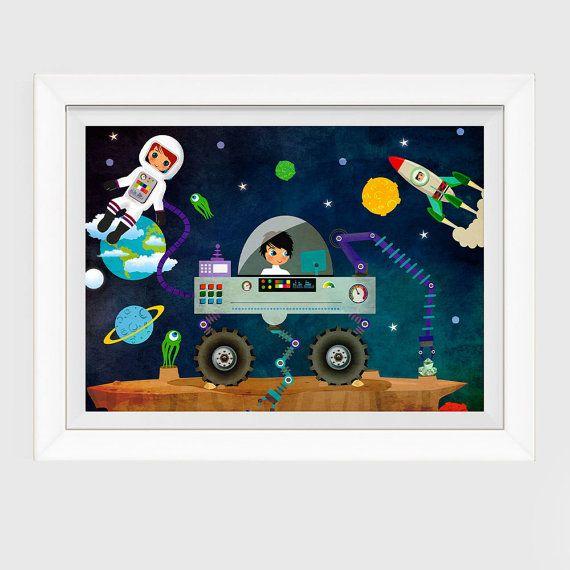 Outer Space illustration Boys Room Decor Nursery by CherimoyaArt