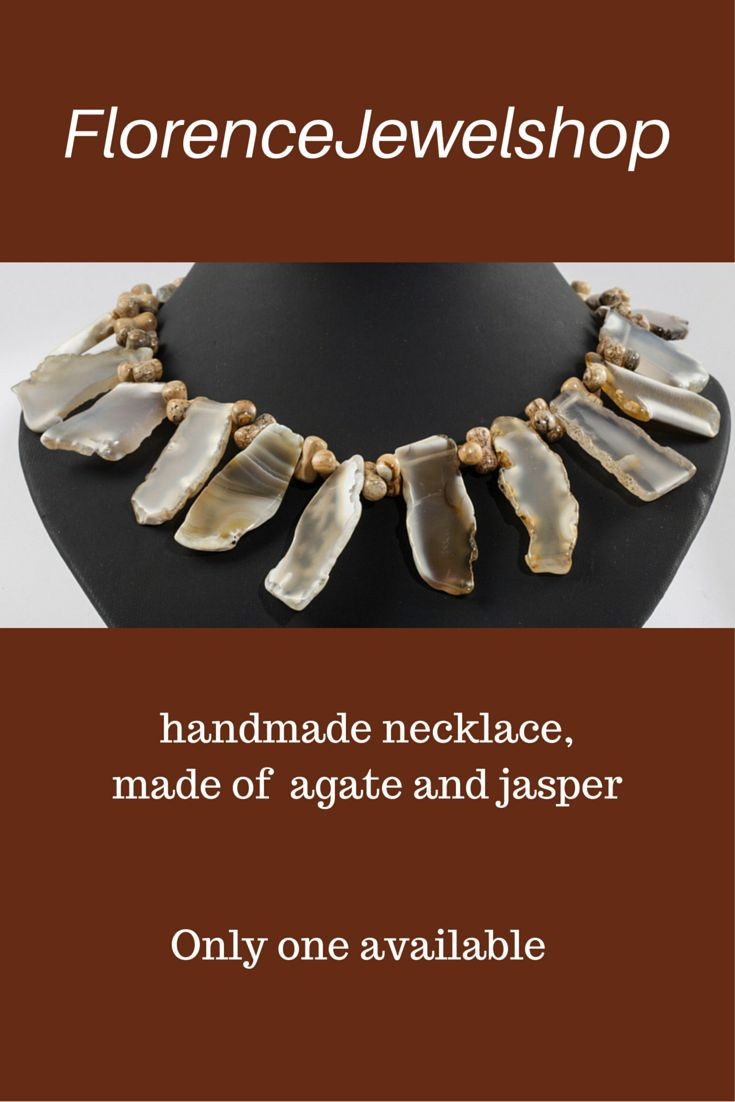 Off White brown gems  Off White brown gemstone beaded necklace, (hand)made of agate and jasper, finished with a magnetic clasp.  You can wear this necklace on any occasion and it will look great on white, red, blue and brown clothing. ? 60. Learn more:  www.florencejewel...