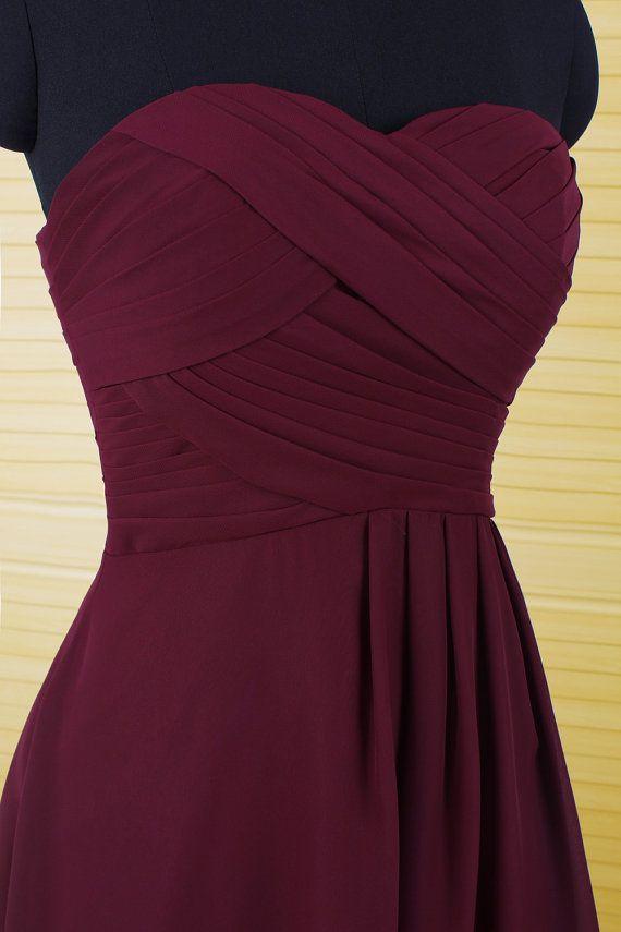 Simple dark red short chiffon bridesmaid by DressPerfect on Etsy