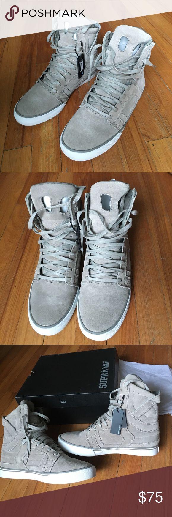 Khaki Suede (Grey) Supra's Supra Skytop II. In excellent condition. Supra Shoes Sneakers
