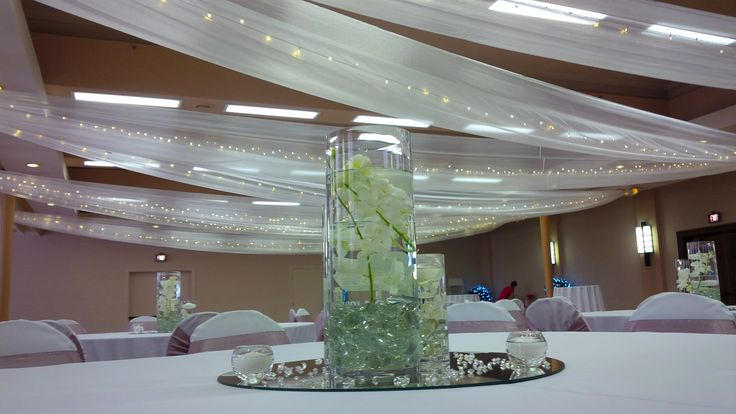 #Newcastle #City #Hall #Banquet #room #ceiling drapery #fairylights #3tieredvases #singpore #orchids