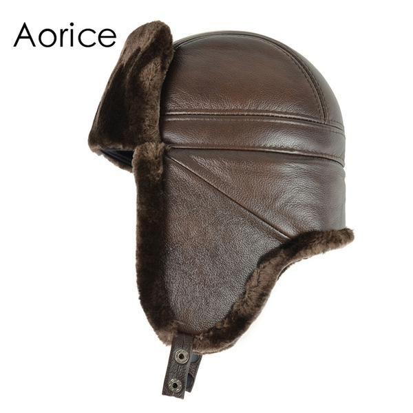 Men genuine cow skin leather men's Bomber hats with ear flap Russian winter Faux fur Earmuffs caps  brown black colors