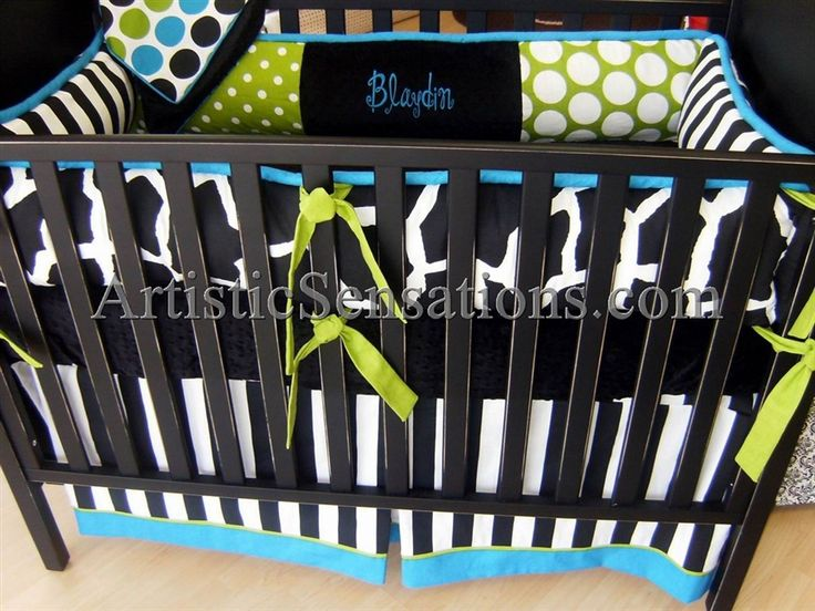 Aqua & Green Dots and Animal Print Blaydin Crib Bedding