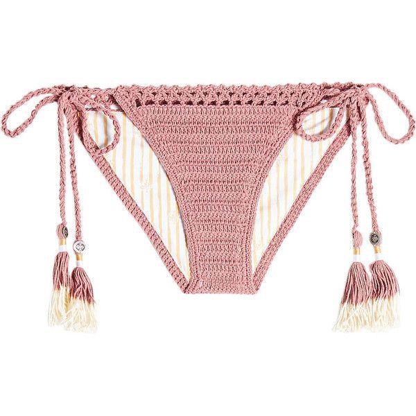 She Made Me Crochet Bikini Bottoms ($79) ❤ liked on Polyvore featuring swimwear, bikinis, bikini bottoms, bathing suits, bikini, pink, retro bikini, bikini bottom, bikini bathing suits and tie bikini bottom