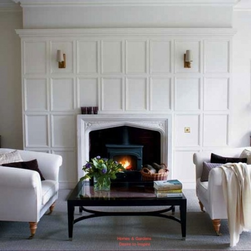 Fireplace sound with wood trim paneling surround