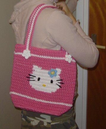 Large crochet hello Kitty tote - my design by Oslofias, via Flickr