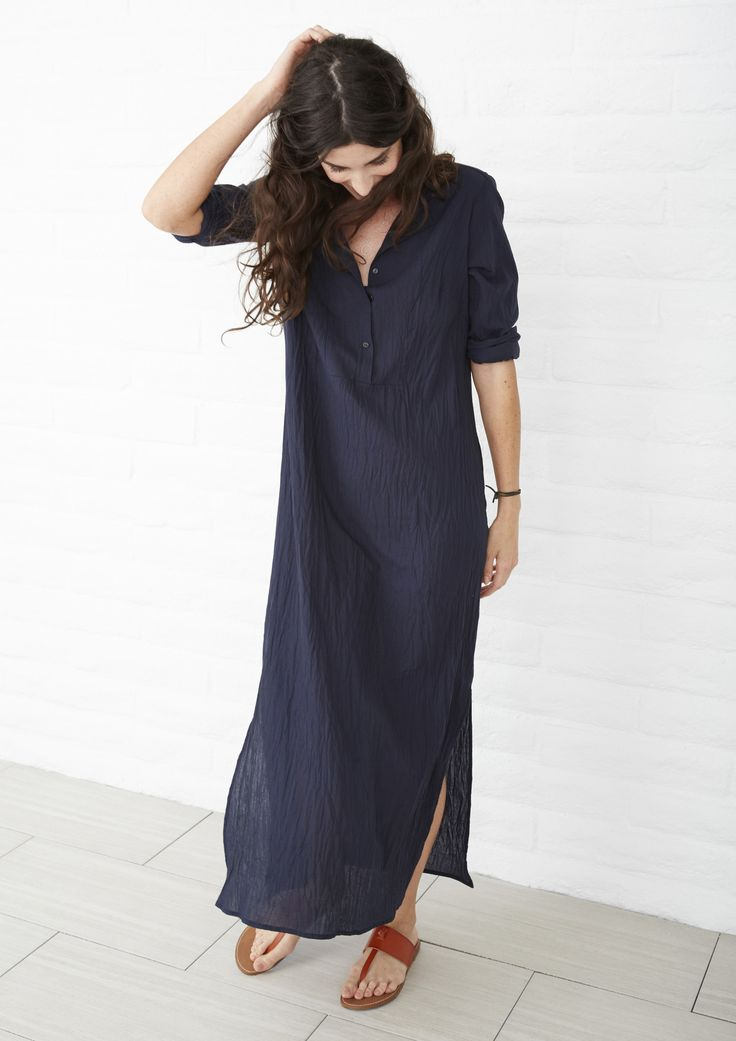 Long cotton tunic. Caftan maxi dress with side slits, long sleeves and bib detail.