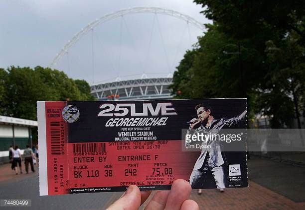A ticket for George Michael's inaugural concert at the newly rebuilt Wembley Stadium on June 9 2007 in London