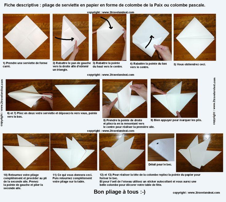 Pliage de serviette de table en forme de colombe, réaliser une colombe avec une serviette en papier , l'art du pliage de serviettes de table, decoration de table, recettes de cuisine et traditions en Europe. Information et Tourisme Européen.