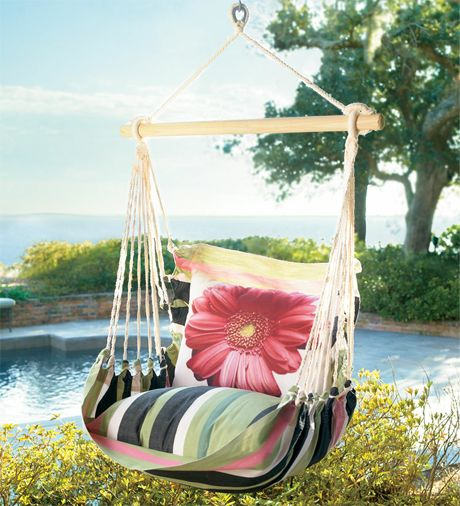 Chair Swing with Daisy Pillow: Outdoor Ideas, Garden Ideas, Designer Pillow, Swings, Chair Swing, House, Daisy Pillow, Pillows, Crafty Ideas