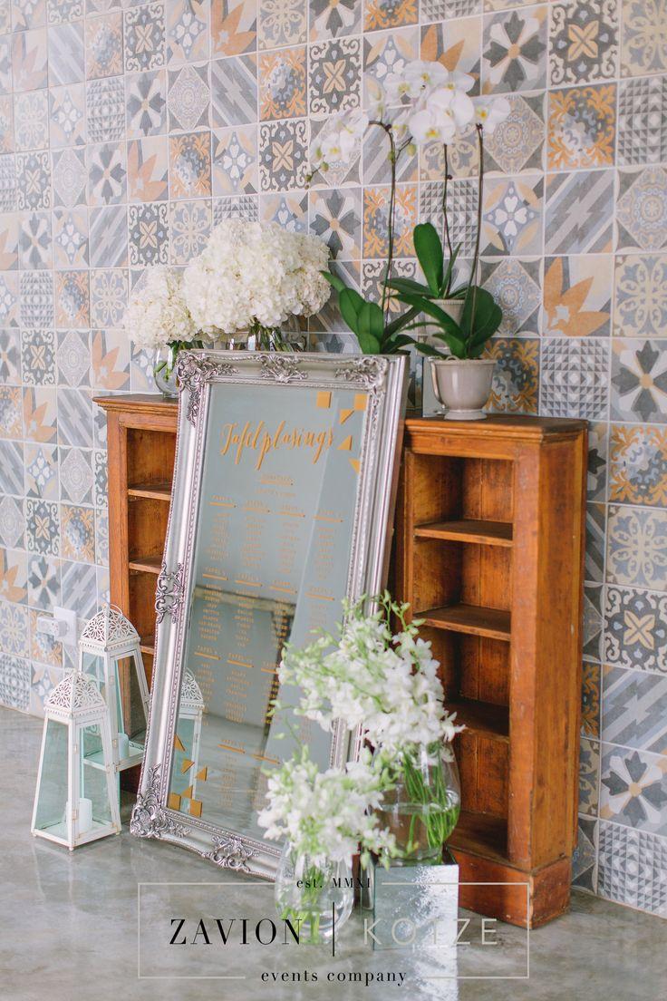 Floral art by Zavion Kotze. Wedding seating plan, orchids, white orchids, glamour, wedding day, wedding, luxury wedding