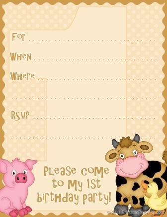 Free Printable 1st Birthday Invitations Beige barnyard birthday http://wordplay.hubpages.com/hub/free-1st-birthday-invitations