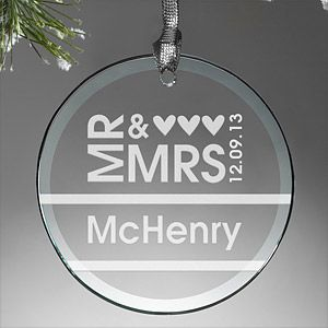 "This. Is. BEAUTIFUL! It's a ""Mr. & Mrs."" Personalized Glass Wedding Christmas Ornament - you can have it engraved with any name and wedding date - this is a great wedding gift idea for the bride and groom or a great Christmas gift idea for couples celebrating their first married Christmas together!Christmas Gift Ideas, Glasses Ornaments, Personalized Glasses, Anniversaries Ideas, Personalized Wedding, Anniversaries Gift, Glasses Christmas Ornaments, Personalized Ornaments, Christmas Gifts"