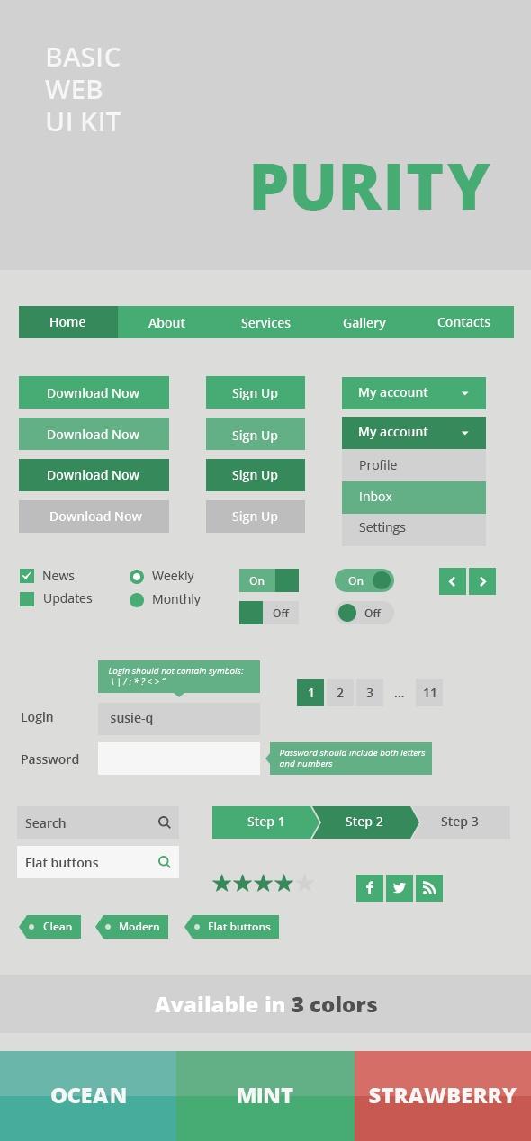 Web UI Kit   Purity by Ksenia Tomchuk, via Behance