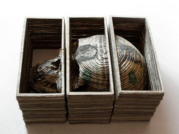Stacks of money turned Into 3D carvings, by tattoo artist Scott Campbell