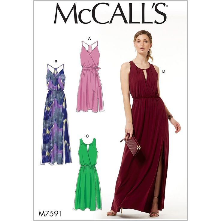 Misses Sleeveless Pullover Surplice-Style Dresses, Sash and Length Variations McCalls Sewing Pattern 7591.