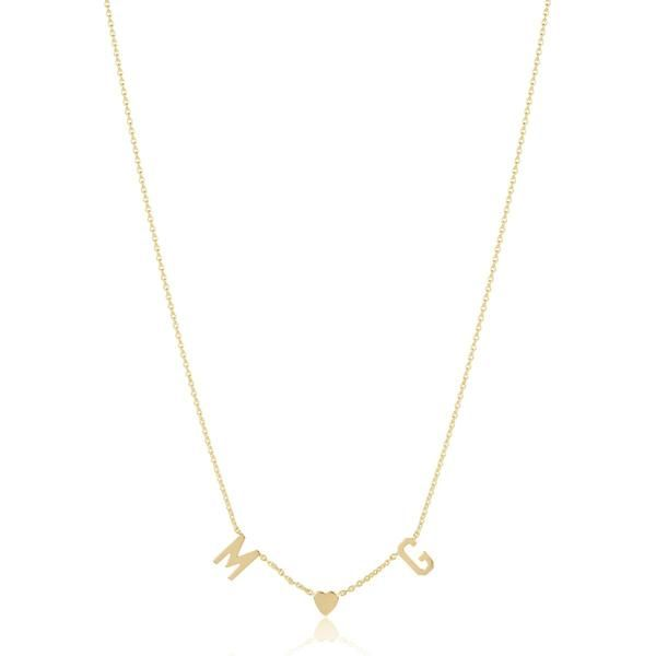 29c5c89b2e4ae9 Gold Two Initial and Teeny Heart Necklace | Want | Initial necklace ...