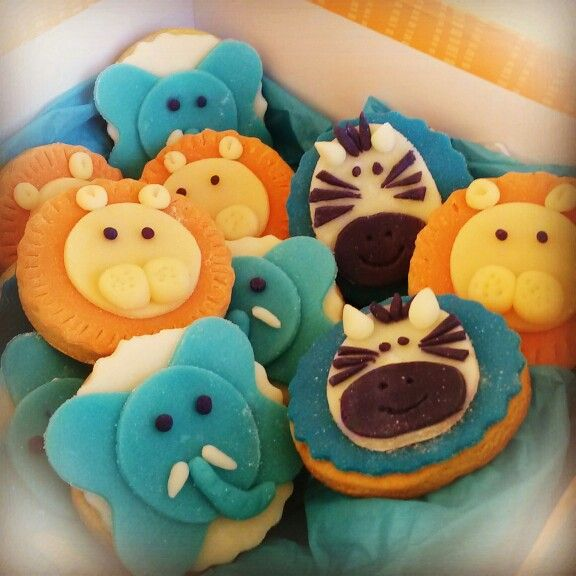 Jungle animals cookies for a new born boy