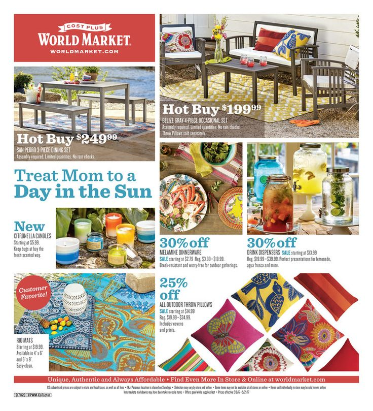 Cost Plus World Market Weekly Ad May 6 - 21, 2017 - http://www.olcatalog.com/world-market/world-market-weekly-ad.html