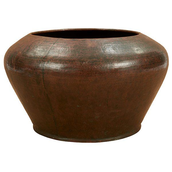 Dirk Van Erp (1860-1933), jardiniere, San Francisco, CA, hammered copper, signed with closed box mark, 11''dia x 6.5''h