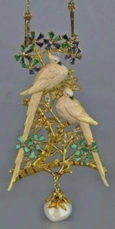 An Art Nouveau 'Lovebirds' pendant, by Georges Fouquet, circa 1901, composed of gold, enamel, sapphire, emerald, turquoise, diamond and baroque pearl.