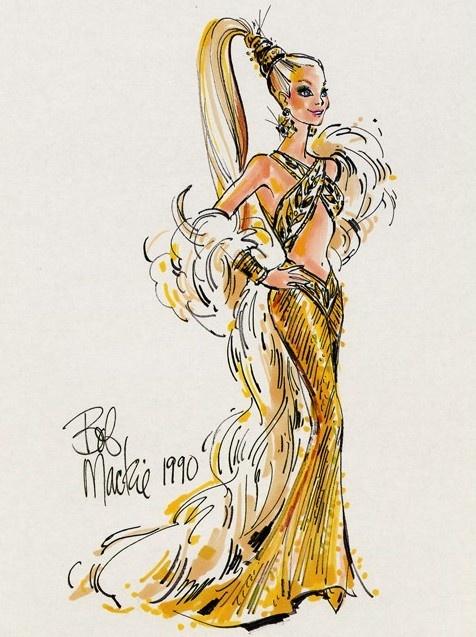 Bob Mackie sketch of Barbie Gold