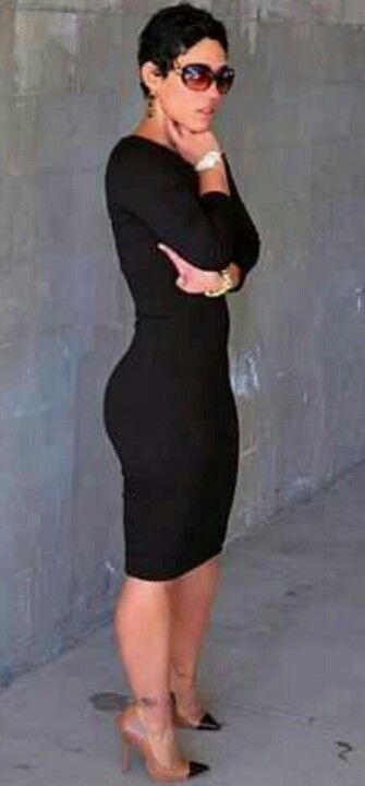 Mimigstyle.com | Black, Long-sleeved Dress; Nude Pumps with Black Toe