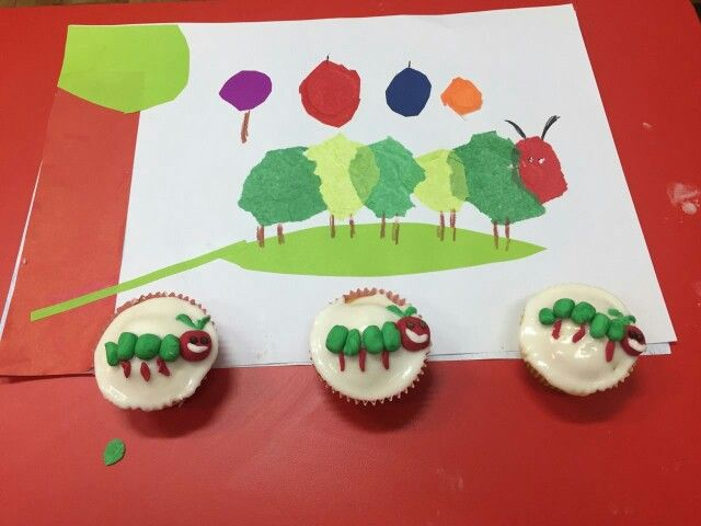 The Very Hungry Caterpillar craft and cupcakes.