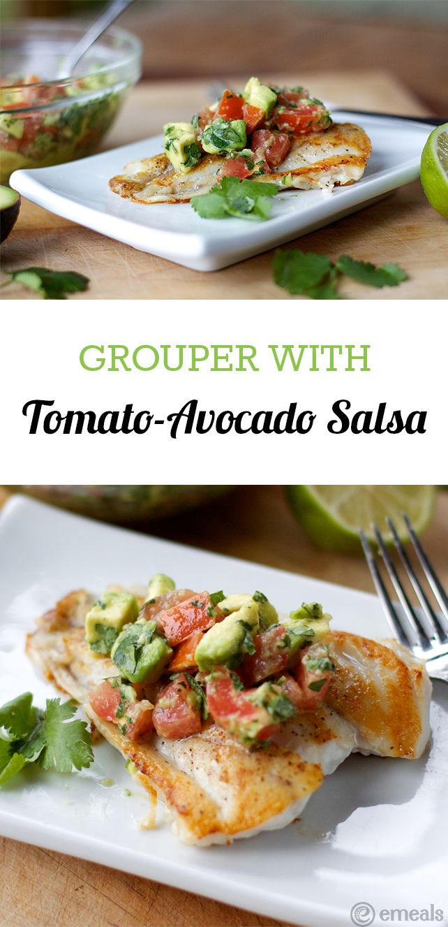 Amazing sautéed grouper! Toss the Tomato-Avocado Salsa together and let it stand while you quickly sauté the fish. You'll have a perfect summer recipe on the table in no time!  http://blog.emeals.com/sauteed-grouper-with-tomato-avocado-salsa/?utm_content=bufferd2d9d&utm_medium=social&utm_source=pinterest.com&utm_campaign=buffer