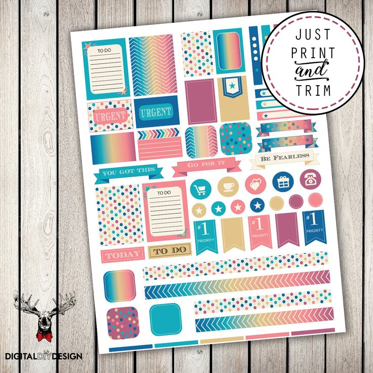 Bright rainbow planner stickers, printable, reusable.  To do list, today, urgent, priority, icon stickers washi tape. by DigitalDIYDesign on Etsy