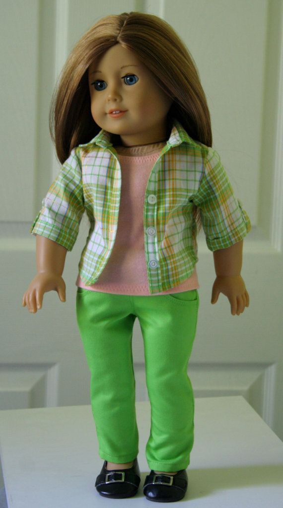 American Girl Dolls Lime Green Skinny Jeans, Button-up Shirt and Tank Top for 18 - Modern casual clothes