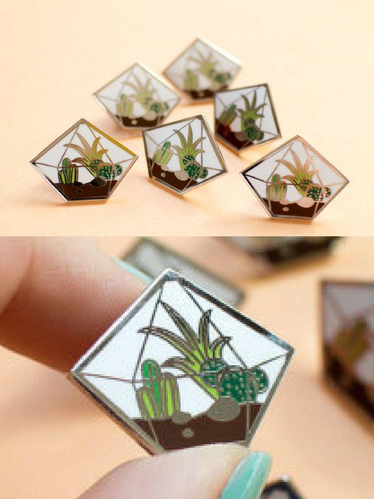 Cute terrarium enamel lapel pins with cacti and succulents inside. #enamelpin #lapelpin #cactus #cacti #succulents #plants #promoted #etsy
