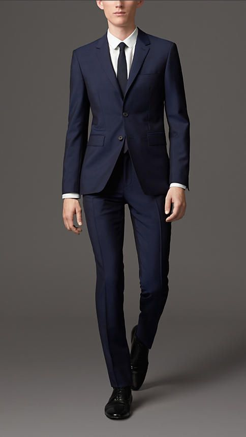 Navy Slim Fit Wool Mohair Suit - Image 1