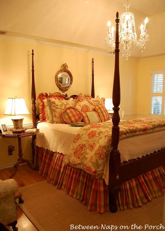 Love all the fulness of this bedskirt and the whole color scheme decorating ideas pinterest Chandelier in master bedroom