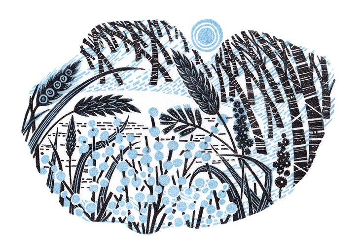 Angie Lewin - Stopping By Woods - wood engraving