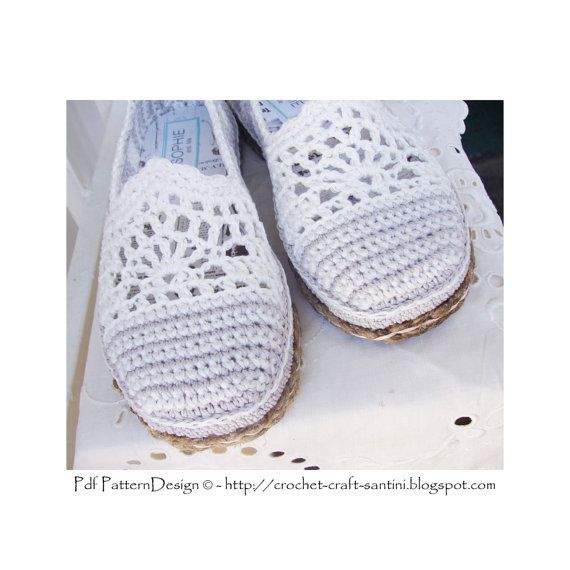LACE and STRIPE ESPADRILLES/TOMS    **This listing is for a CROCHET PATTERN. You are not buying a finished product! INSTANT DOWNLOAD PDF**