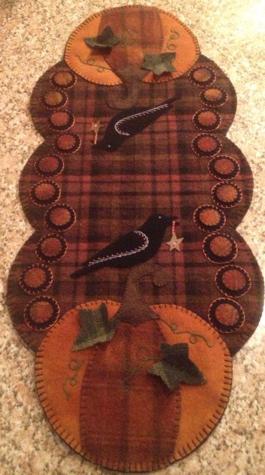 Primitive Wool Penny Rug Fall Table Runner