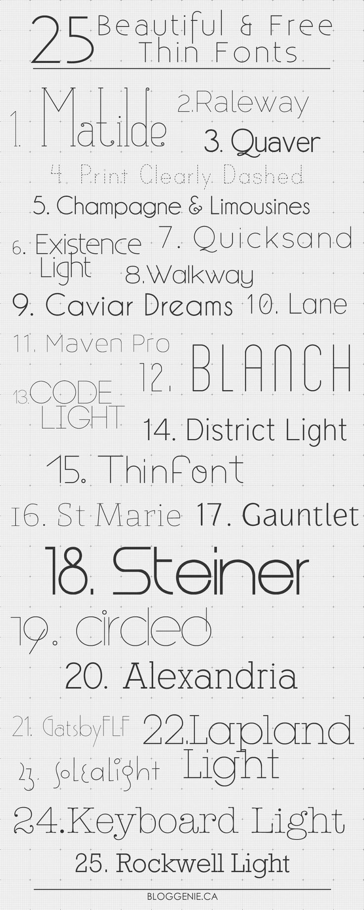 Looking for some thin font-spiration? Look no further than these 25 free thin fonts for your next design project.