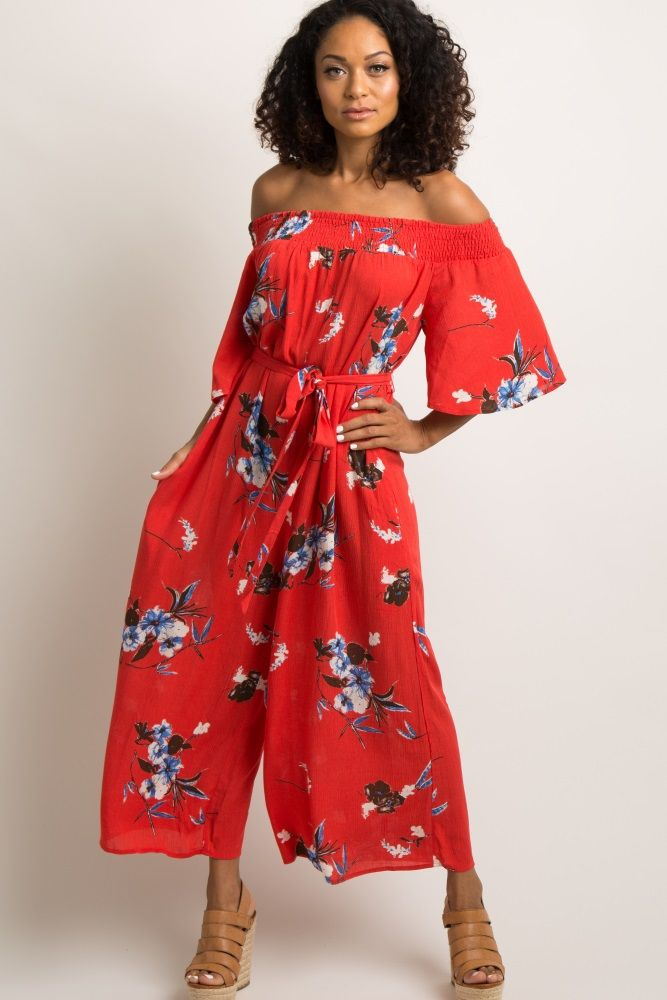 bef5d6492ca7 Red Floral Off Shoulder Wide Leg Jumpsuit A floral jumpsuit featuring a  smoked