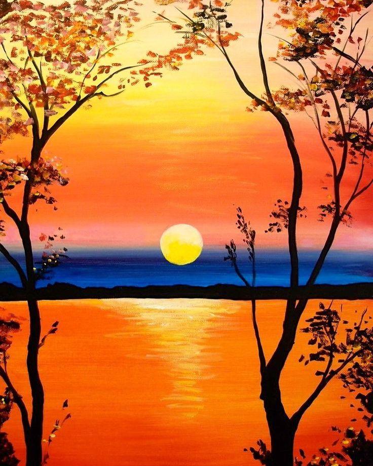 Красивые картинки нарисованные закат