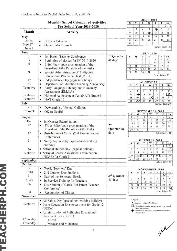 Deped School Calendar For School Year 2019 2020 School Calendar